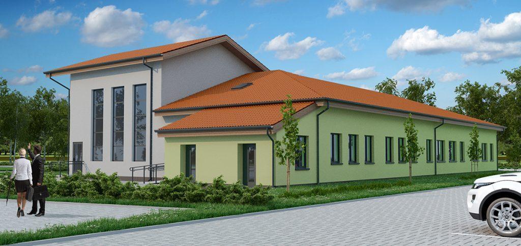 Wizualizacja budynku - szkolno przedszkolnego